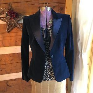 Elie Tahari Navy Blue Velvet Blazer